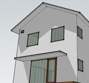 3DCGにアンテナをプロットした新築住宅