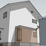 googleスケッチアップで作成したアンテナ施工の新築住宅
