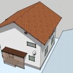 googleスケッチアップで作成したアンテナ施工の新築住宅鳥瞰図